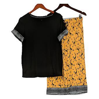 Cuddl Duds Kvinders Pyjamas Set Comfort Border Print Detail Orange A392673