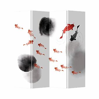 Fine Asianliving Chinese Oriental Room Divider Folding Privacy Screen 4 Panel Koi Fish L160xH180cm
