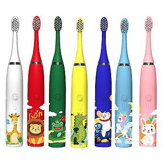 سونيك فرشاة أسنان الأطفال الكهربائية 3-12 سنة تنظيف الأسنان العناية البكتيريا الفموية 6 استبدال فرشاة رؤساء USB الشحن