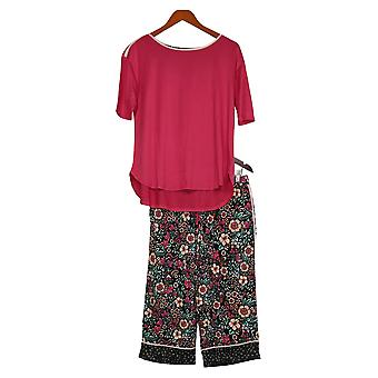 Cuddl Duds Women's Petite Cool & Airy Printed Pajama Set Red A373982