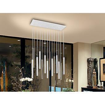 Schuller Varas Ultra Slim Dimmerabile 14 Light Suspension 3 Meter Max Hanging Light, Oro & Bianco Opaco, Altezza massima 3 metri