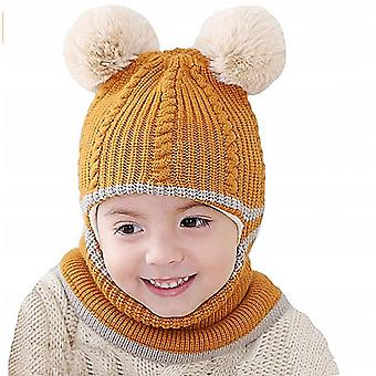 Baby Winter Thick Warm And Windproof Double Hair Ball One-piece Woolen Cap (yellow)