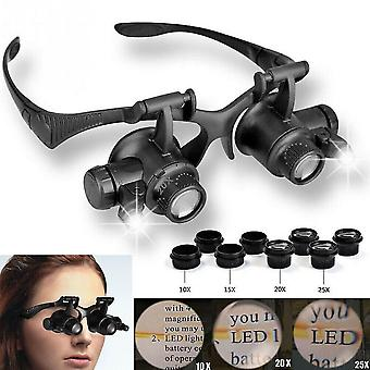 Jewelry cleaning tools 25x magnifier magnifying eye glass loupe jeweler watch repair kit led light uk