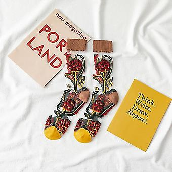 Womens novelty harajuku crystal silk tide socks for summer with patterns(Brown)