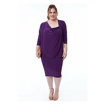 Goddiva Loose Fit Midi mekko, jossa on asymmetrinen kaula - violetti
