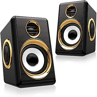 Desktop Speakers, Usb-powered Wired Speakers 5wx2, Small Stereo 2.0 Deep Bass, Computer Speakers 3.5 Mm Auxiliary Multimedia Speakers, (black Gold)