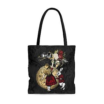 Premium polyester tote bag - alice in wonderland gifts #33 red series, different designs on each side | aesthetic & cute tote bag