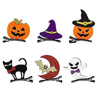 6pcs Halloween Cartoon Hairpins Pumpkin Ghost Bat