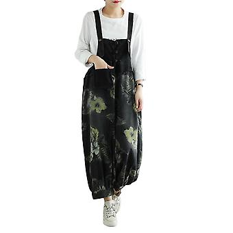 Woman Black Coloure Printed Overalls Casual Demin Pants