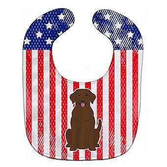 Каролинских сокровища BB3051BIB патриотических США Шоколадный лабрадор ребенок нагрудник
