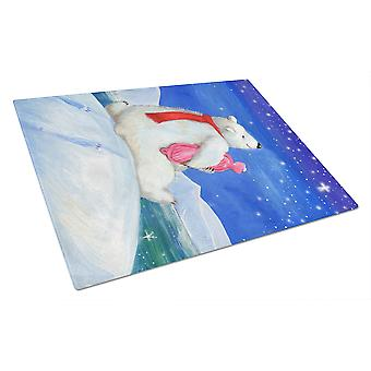 Polar Bear with Hot Water Bottle Glass Cutting Board Large