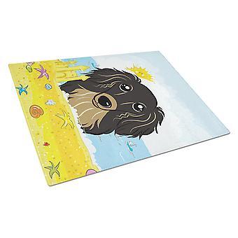 Longhair sort og Tan gravhund sommer strand glasset skærebræt stor