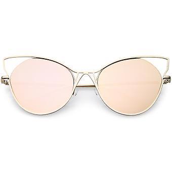 قطة كبيرة الحجم العين نظارات شبه مؤطرة معدنية قطع بها عدسة مسطحة ذات النسخ المتطابقة 60 مم