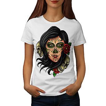 Day Of Dead Cool Skull Women WhiteT-shirt | Wellcoda