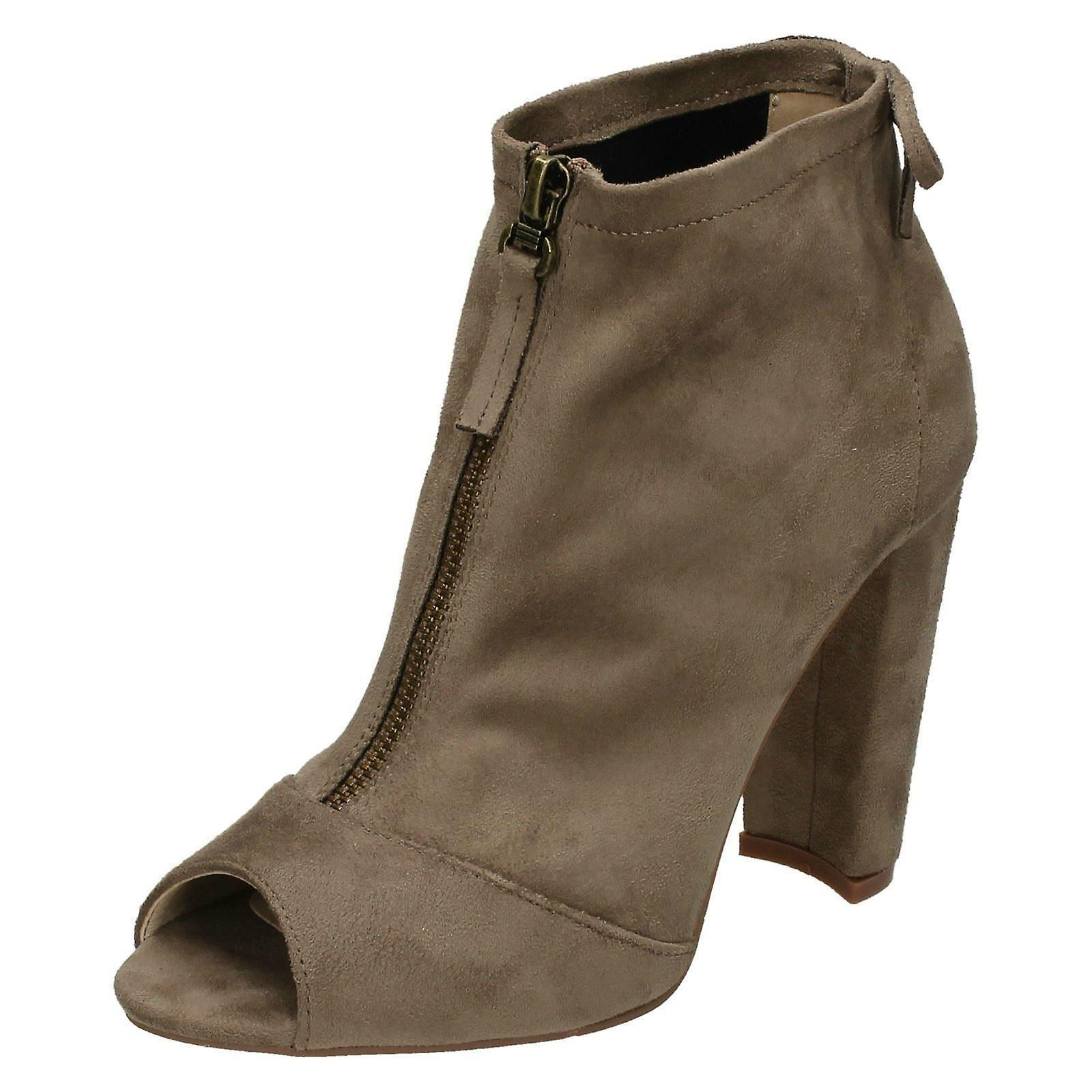Ladies Spot On Peep Toe Ankle Boots F10724 bmCiM
