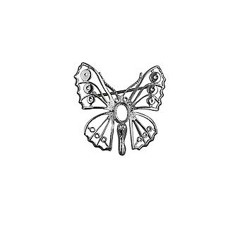 Sølv 32x31mm Butterfly broche