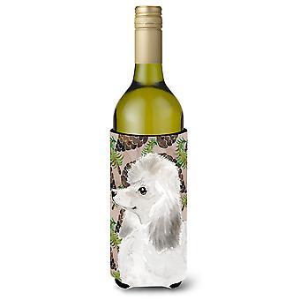 Poodle padrão branco pinho Cones garrafa de vinho Beverge isolador Hugger