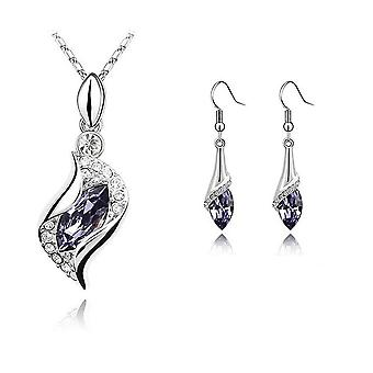 Womens Girls Beautiful Light Violet Stone Necklace And Earrings Jewellery Set BGCW45