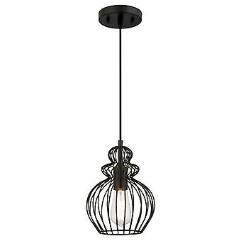 Westinghouse One-Light Pendant matte black with cage shade