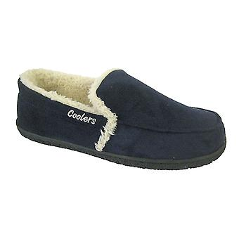 Coolers Mens Warm Plush Lined Faux Suede Low Top Slippers