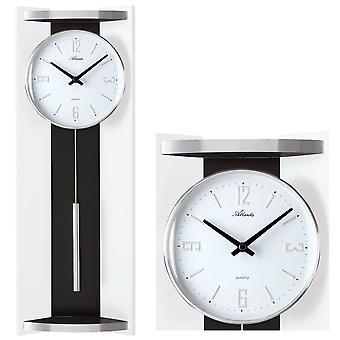 Atlanta 5083/0 wall clock quartz analog with pendulum black white