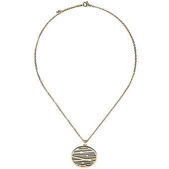 Ожерелье цепь 47 см, покрытые цветами нержавеющей стали золотой кулон