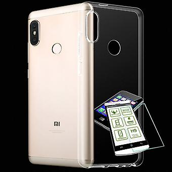 Voor Xiaomi MI A2 Lite / Redmi 6 Pro Silikoncase TPU transparant + 0.3 H9 glas bag beschermende draagtas