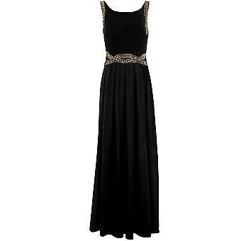 Ladies Beaded Diamante Trim Self Tie V Zip Back Chiffon Lined Prom Maxi Dress