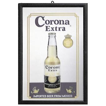 Corona mirror wall mirror with black plastic framing wood.