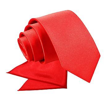 Red Plain Satin Tie & Pocket Square Set for Boys