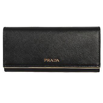 Prada sort Saffiano læder Flap tegnebog med Metal Bar detalje 1MH132 QME F0002