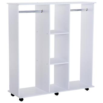 HOMCOM Double Mobile Open Wardrobe With Clothes Hanging Rails Storage Shelves Organizer Bedroom Furniture - White