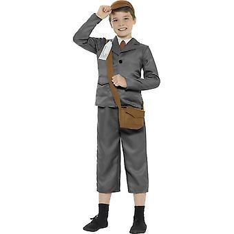 WW2 避難民少年衣装、グレー、ジャケット、ズボン、モックのシャツ、バッグ、帽子・名札