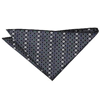 Silver, Grey & Green Chequered Polka Dot Pocket Square