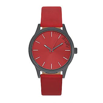 Simplify The 2400 Leather-Band Unisex Watch - Black/Red