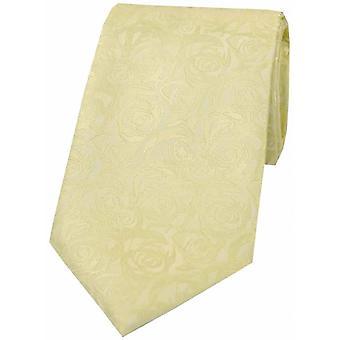 David Van Hagen Rose Wedding Polyester Tie - Ivory