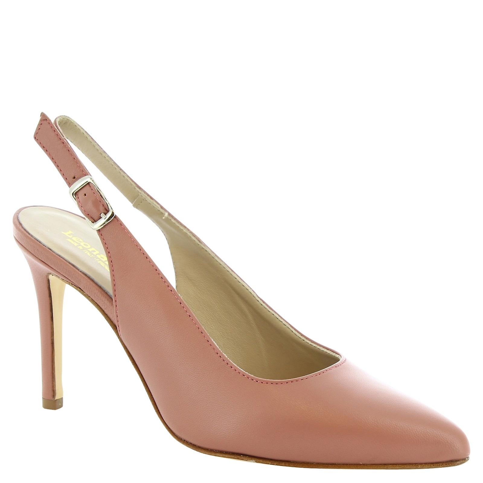 Leonardo Shoes Women's handmade slingbacks in dusty rose calf leather