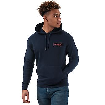 Mens Wrangler Logo Hoody In Navy- Ribbed Cuffs And Hem- Pouch Pocket To Front-