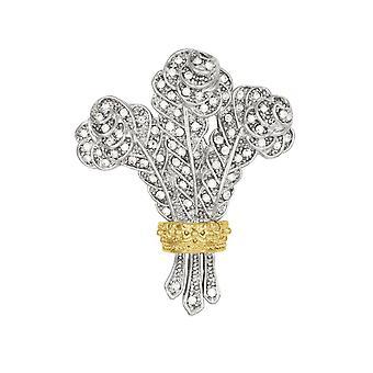 Eternelle Collection Prince de Galles plumes autrichien cristal or et fermoir broche