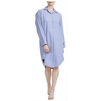 British Boxers Staffordshire Herringbone Flannel Nightshirt - Blue