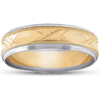 Mens 14k Gold Two Tone Swiss Cut Wedding Ring Band New