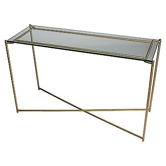 Gillmore Clear Glass Large Console Table With Brass Cross Base