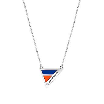 New York Islanders Engraved Sterling Silver Diamond Geometric Necklace In Blue and Orange