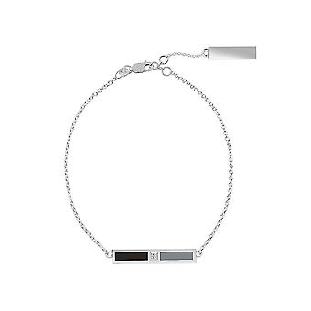 Chicago White Sox Sterling Silver Diamond Chain Bracelet In Black and Grey