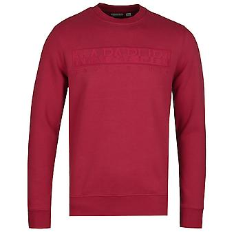 Napapijri Berber Logo Red Crew Neck Sweatshirt