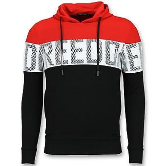 Striped Hooded SweaT-Shirt - Hooded Hoodie - Red