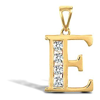 Jewelco London Solid 9ct Yellow Gold White Round Brilliant Cubic Zirconia Identity Initial Charm Pendant Letter E