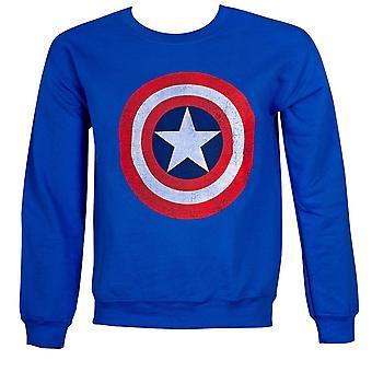 Capitán América lamentando sudadera de cuello redondo escudo