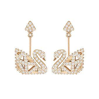 Swarovski Earrings Facet Swan - white - rose gold-plated