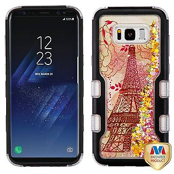 MYBAT Natural Black/Eiffel Tower & Pink Stars TUFF Quicksand Glitter Hybrid Case for Galaxy S8 Plus